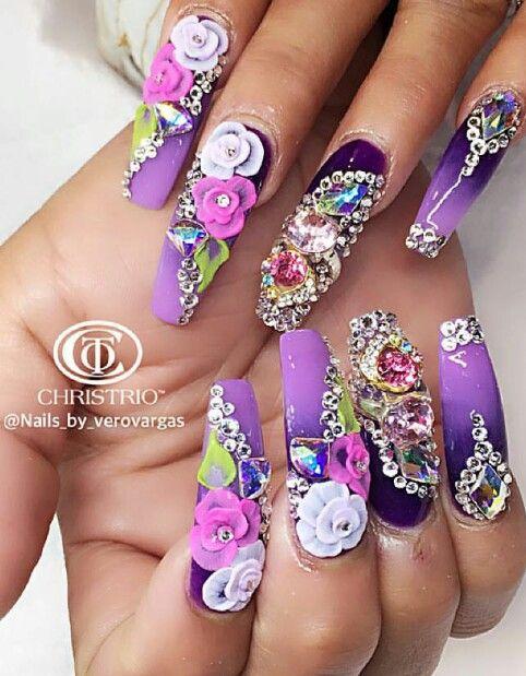 purple floral rhinestone nails