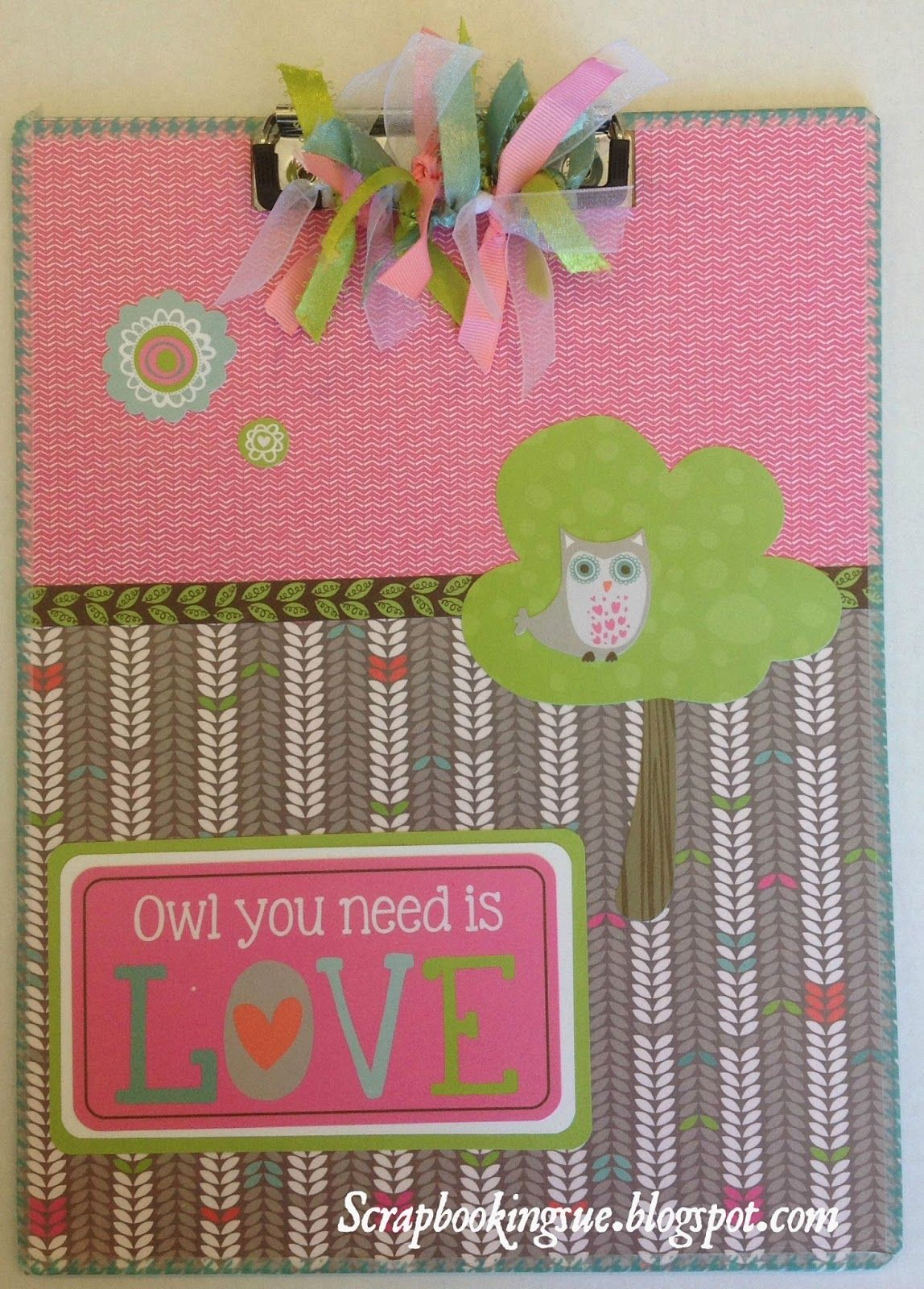 Scrapbooking Sue: Altered Clipboard made with Close To My Heart Lollydoodle papers. www.scrapbookingsue.blogspot.com