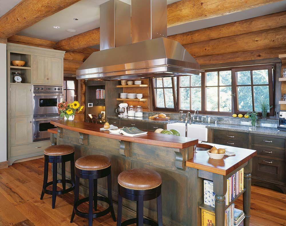 Wood Trim Kitchen Cabinets Hearthstone Log Cabin Interior Google Search Cabin Pinterest