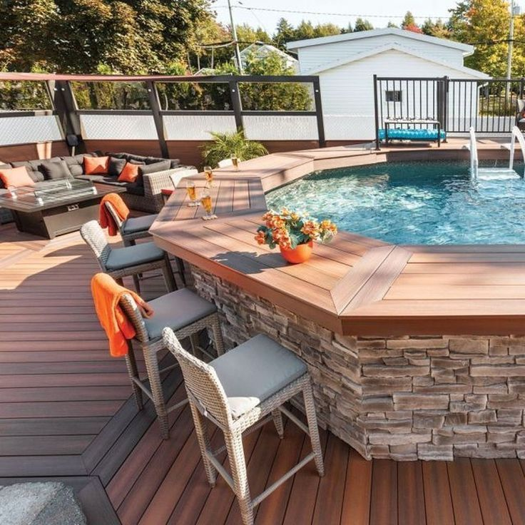 Above Ground Swimming Pool With Encircling Bar With Chair Seating Backyard Patio Designs Diy Outdoor Bar Backyard