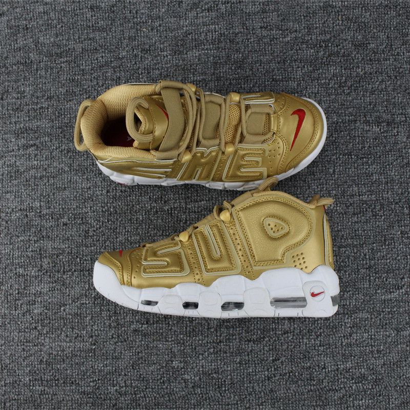 reputable site 2fb3c 0279a Newest Supreme x Nike Air More Uptempo Metallic Gold White 902290-700