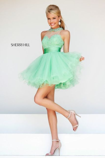 Cute Mint Green Cocktail Dress 2014 with Halter Lace Top by Sherri Hill