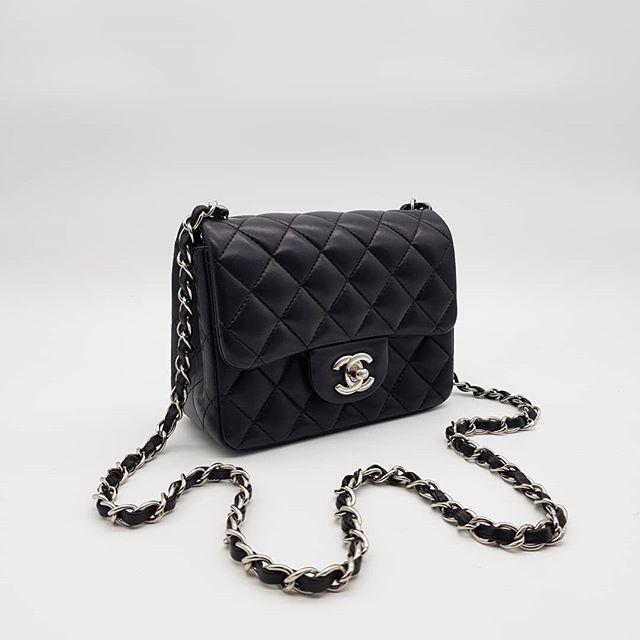 2800 wire. Preloved Chanel Mini Square Black Lambskin