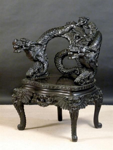 Early 20th Century Heavily Carved And Black Stained Japanese