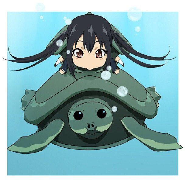 Chibi on turtle. #anime #manga #otaku #chibi #turtle #kawaii #cute #girl #girls #water #sea #japan #japanese