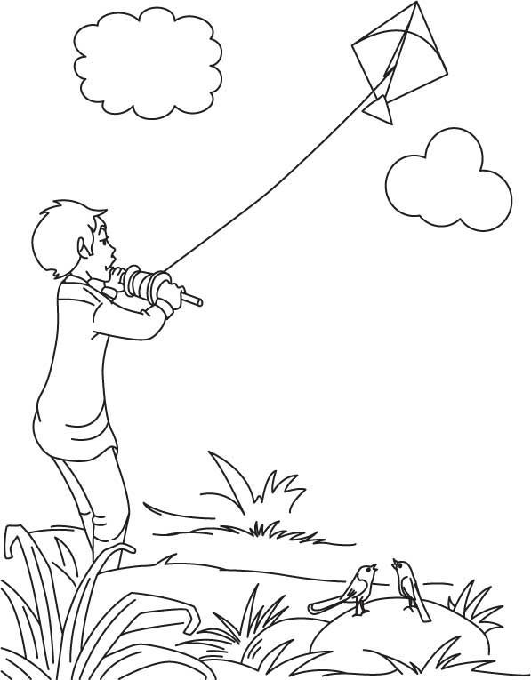 coloring pages of child flying kites | boy flying kite on ...