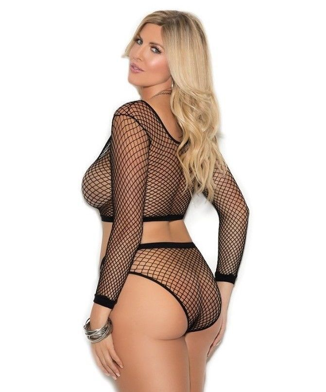 09230e26db Sexy Womens Plus Size Cami Lingerie Set. Sheer Black Fence Net Mesh  Camisole and. Crop Top. Sophisticated elegance from Angels By Millie. Long  Sleeves.