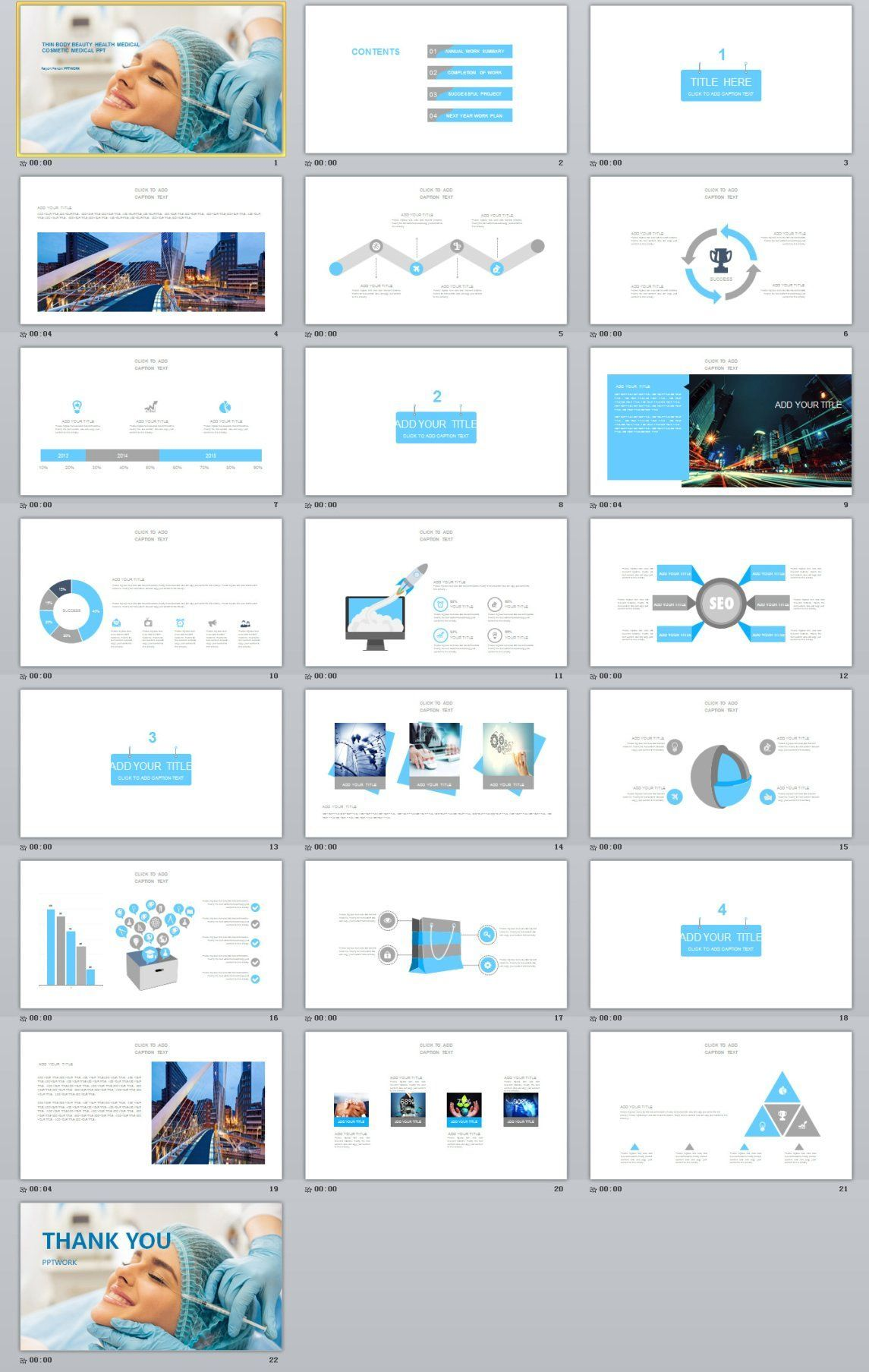 Blue Medical industry analysis PowerPoint template - Pcslide