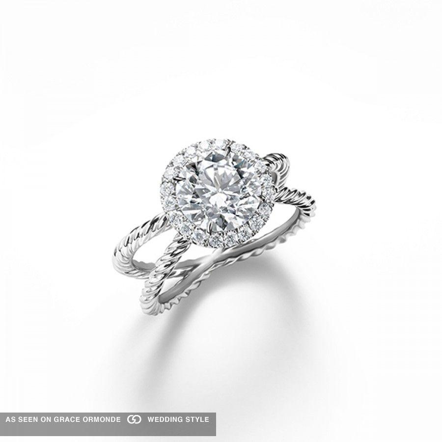 David Yurman Silver Cable Diamond Engagement Ring #davidyurman #silver  #unique #weddingplanning