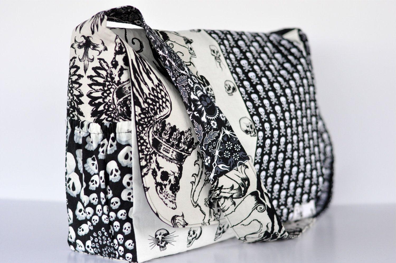 Punk Rock Skull Ss Diaper Bag Ooak Ready To Ship