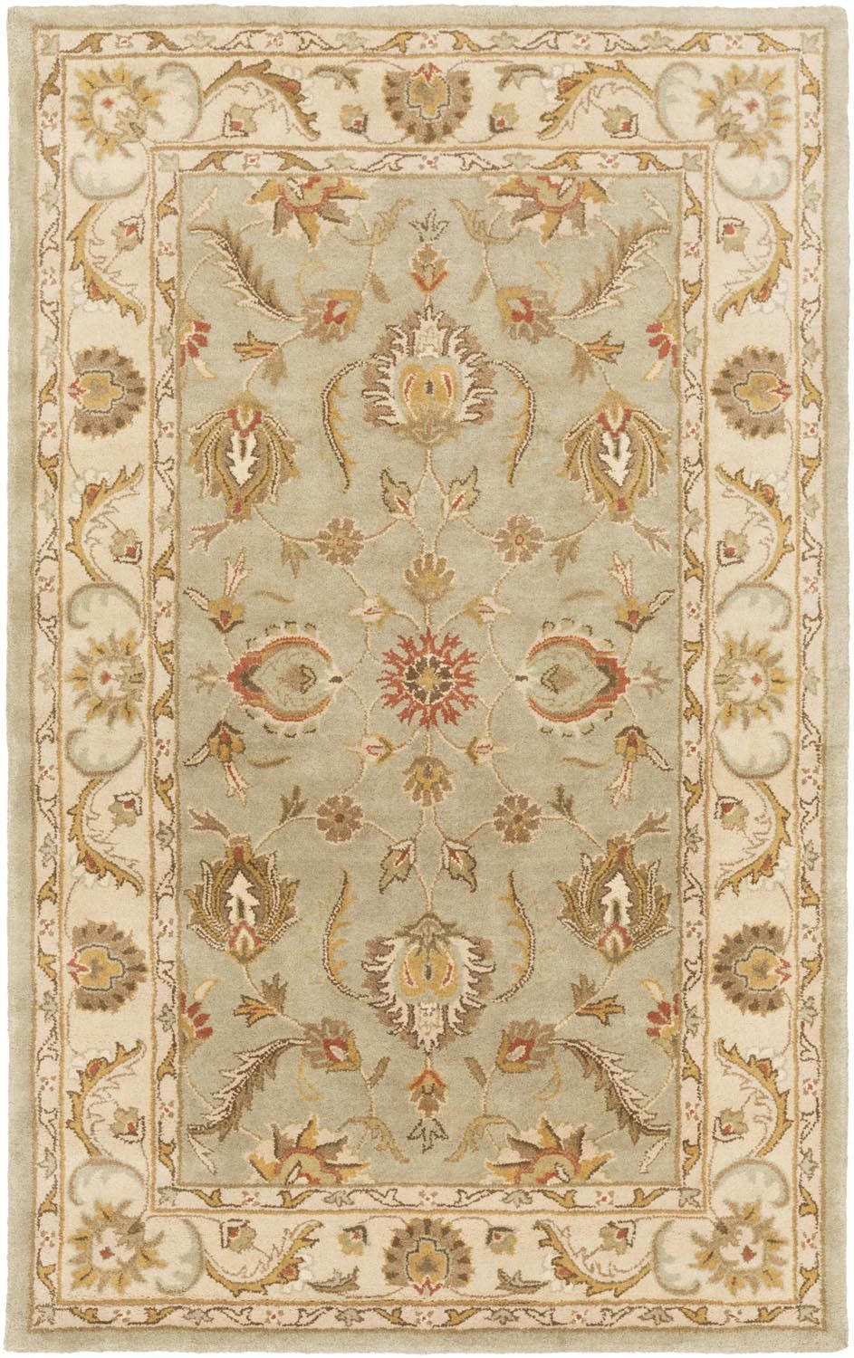 Oxford AWDE-2006 Sage/Beige Traditional Premium Wool Rug
