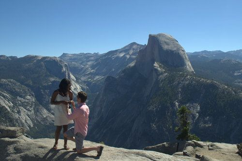 Yosemite engagement with a view of Half Dome!