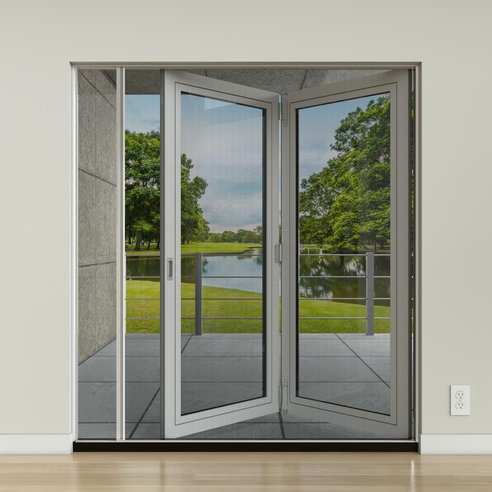 Jeld Wen 72 In X 75 In F2500 White Aluminum Prehung Retractable Screen Door Jw2386 00001 T In 2020 French Doors Exterior Fiberglass Patio Doors Folding Patio Doors