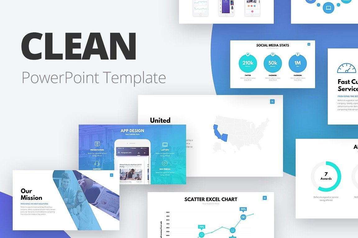 Ad The Clean Powerpoint Template Set Features 105 Different Slides