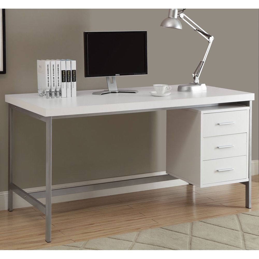 Modern Computer Desks For Home White And Silver Metal 60Inch Office Desk White Hollowcore