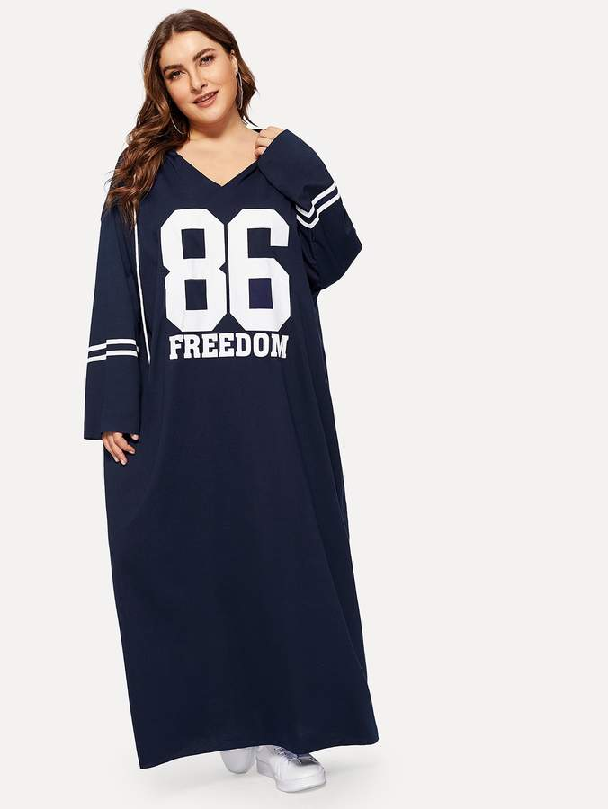 e75fb88d5361 SheinShein Plus Oversized Letter and Striped Hoodie Dress in 2019 ...