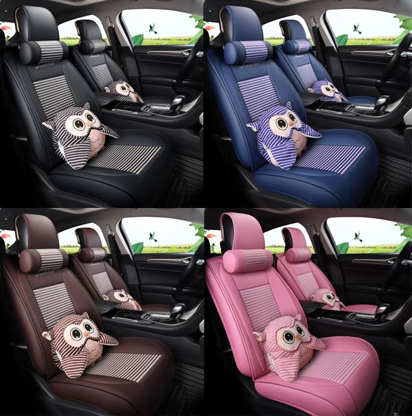 Cartoon Pattern PU Material Five Seats Type All Seasons Universal Seat Covers Car Decorating