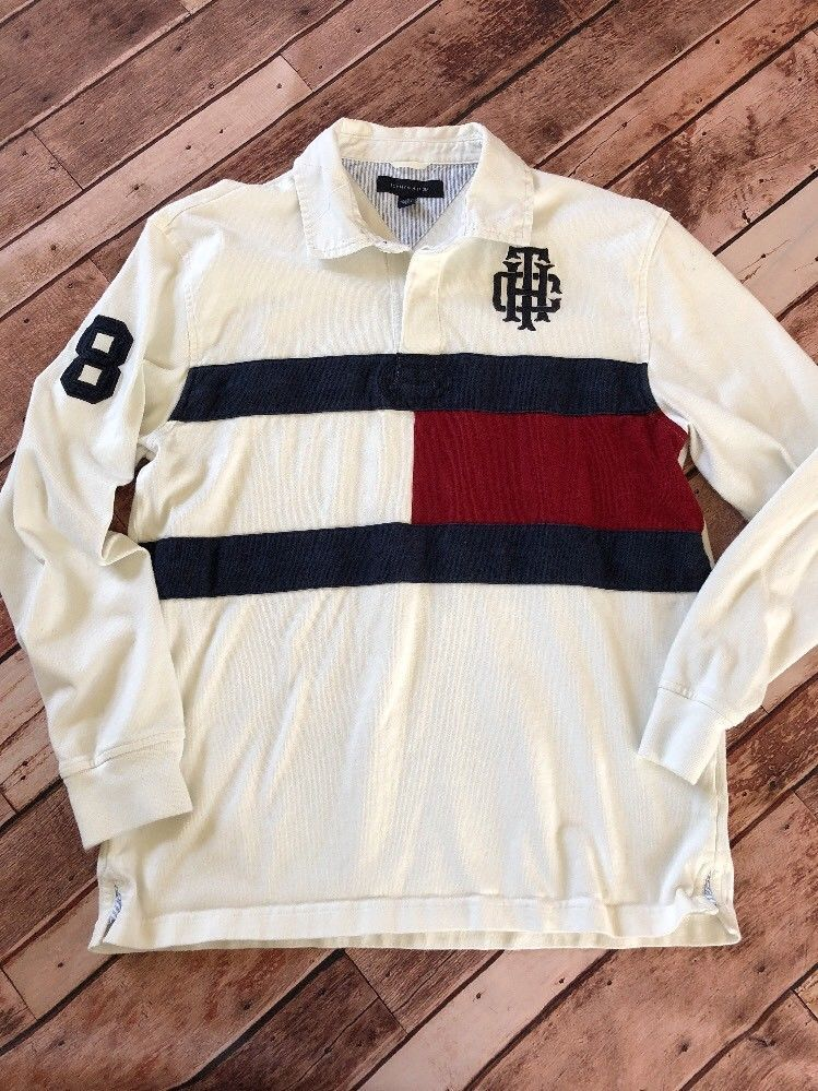e49e324cbac Tommy Hilfiger Color Block Flag Big Logo Rugby Shirt Mens Large L Vintage  Polo #TommyHilfiger #PoloRugby