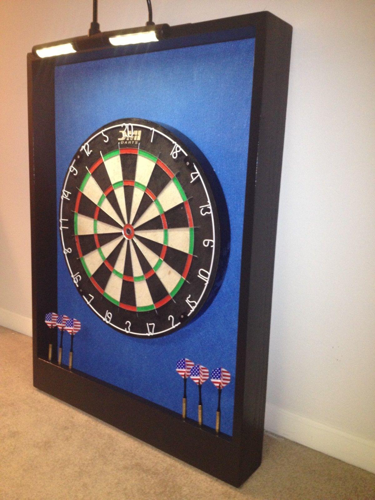 Lighted Carolina Blue Black Trim Dart Board Cabinet w LED Cordless Light | eBay & Lighted Carolina Blue Black Trim Dart Board Cabinet w LED Cordless ...