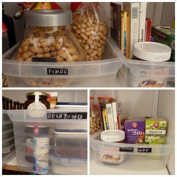 10 claves para poner orden en la despensa. cajas de plástico ...