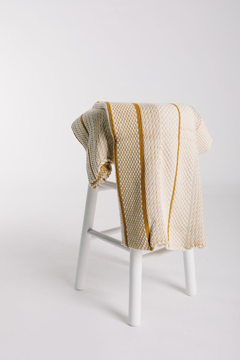 Home cotton knit throw w stripe in mustard natural