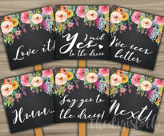 Say Yes To The Dress Signs Bridal Shower Wedding Ping Shabby Chic Fl Idea Chalkboard White Pink