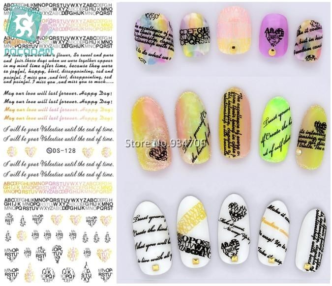 Rocooart Ds128 2017 Water Transfer Nails Art Sticker English Letter