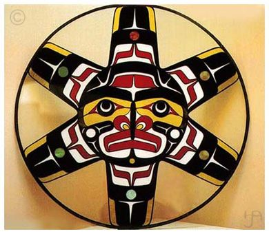 Sun Native American Indian North West Stained Glass Sun