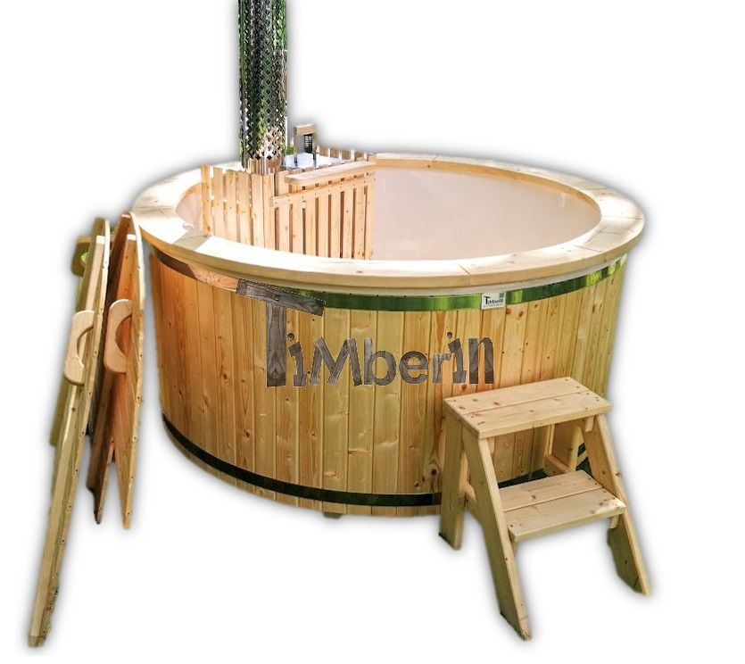 Fiberglass hot tub with snorkel stove timberin wooden - Whirlpool einlage ...