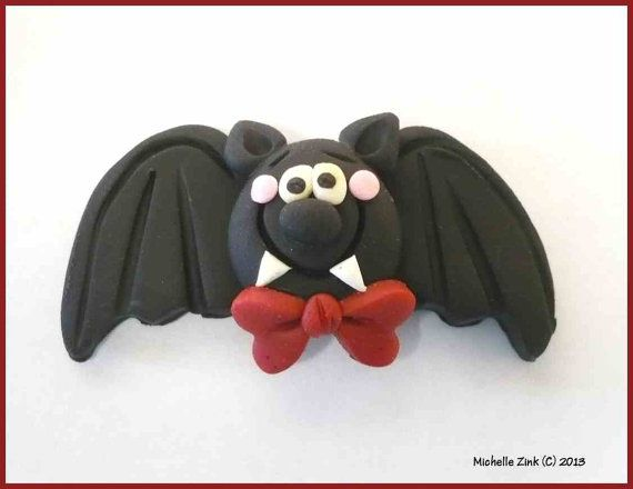 Pen topper -NEW Polymer Clay Bead or Bow Center Bow Tie Bat