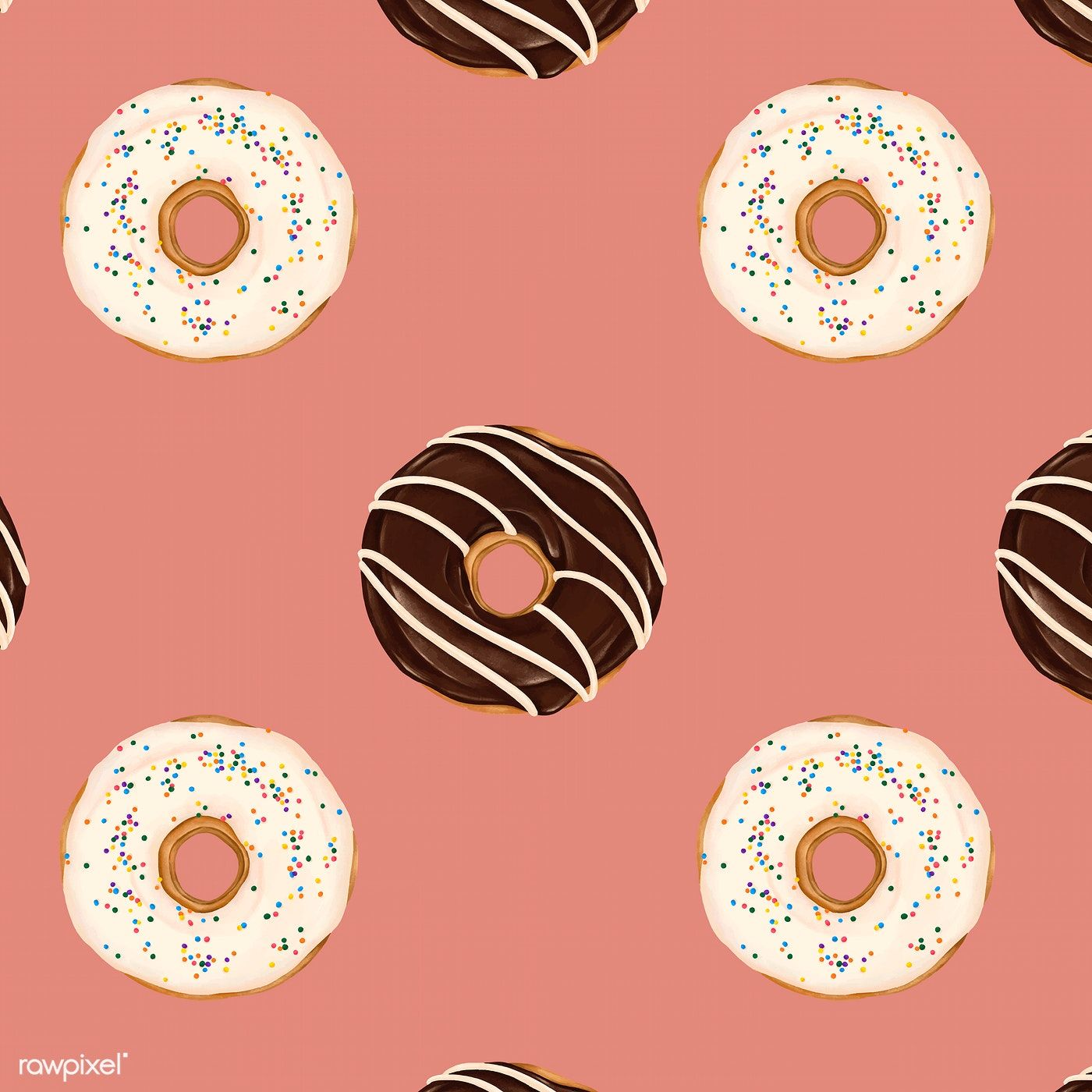 Doughnuts patterned on pink background vector free image