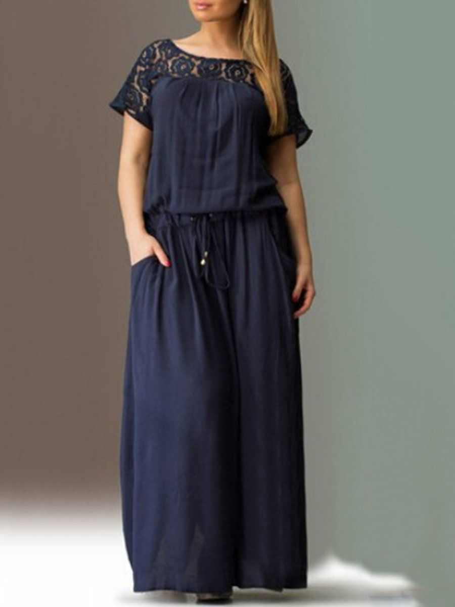 1f701f72bc9 Women Plus Size Guipure Lace Paneled Drawcord Casual Maxi Dress -  ModMiss.com