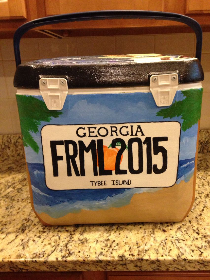 Georgia license plate cooler side with beach background for formal