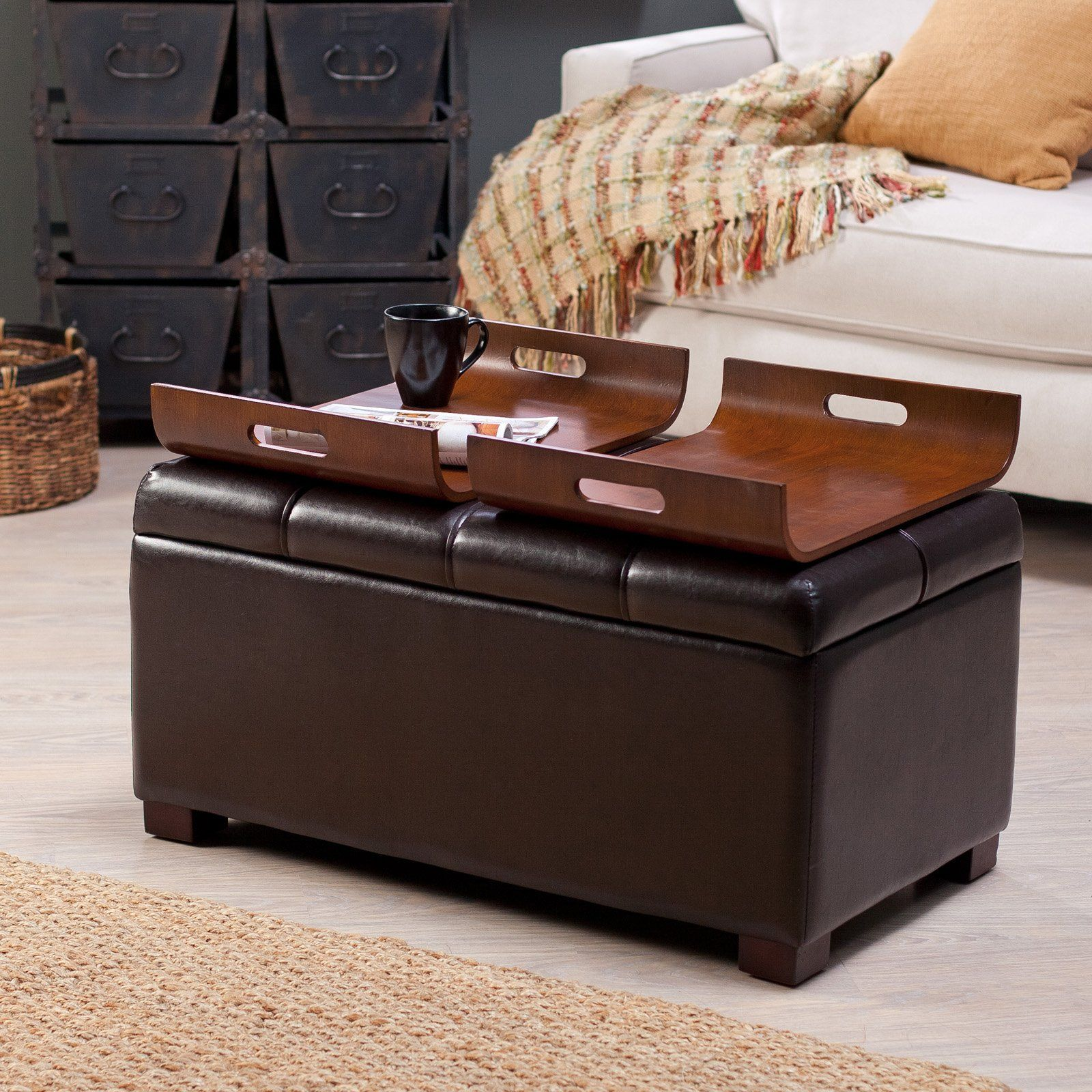 Livingston Storage Ottoman With Tray Tables Brown Add Serious Style And Storage To Your Home