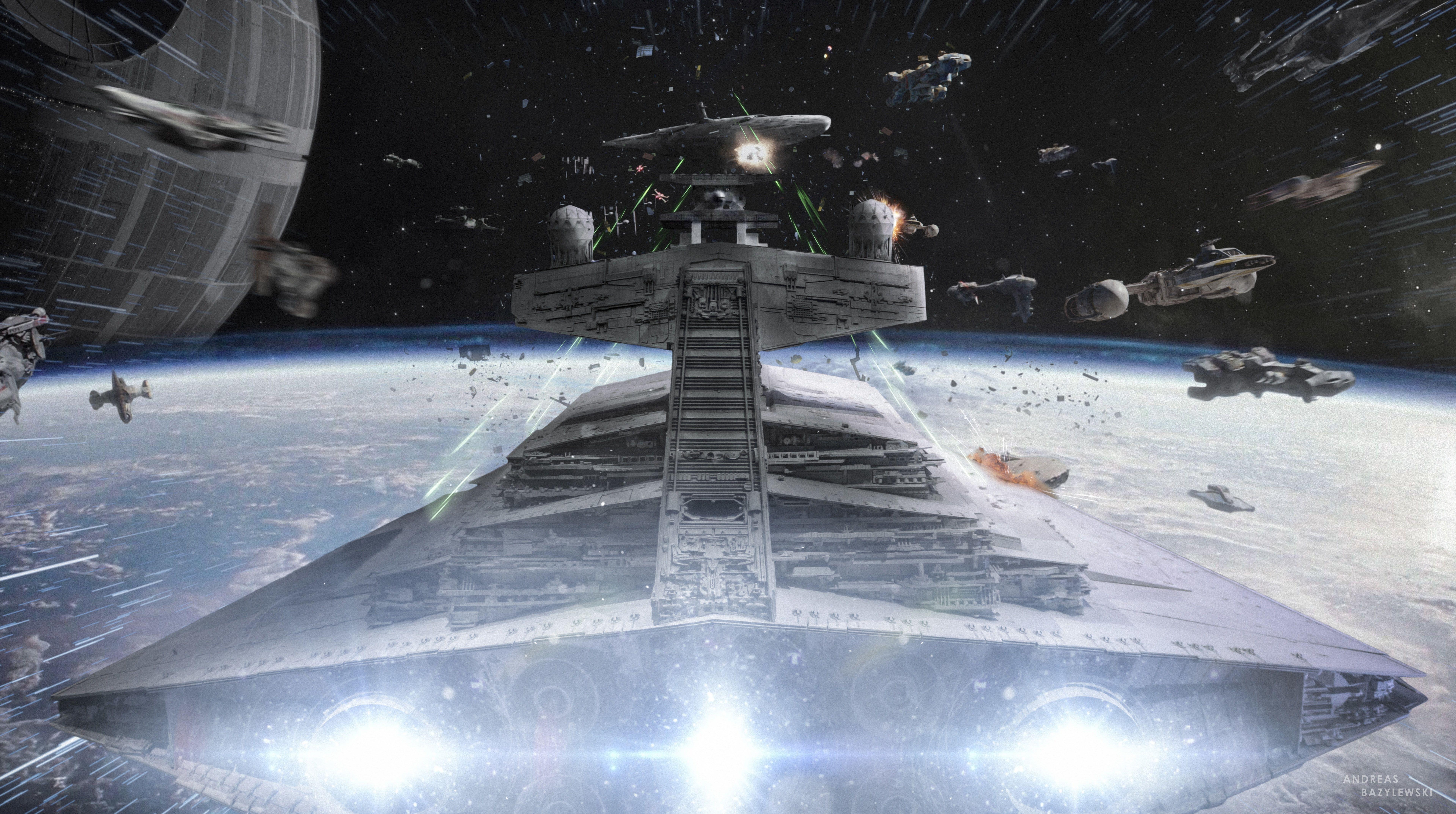 Out Of Hyperspace Star Wars War Of Spaceships Digital Wallpaper Movies Star Wars Firstorder Fleet Fighter S In 2020 Digital Wallpaper Star Wars Star Wars Artwork