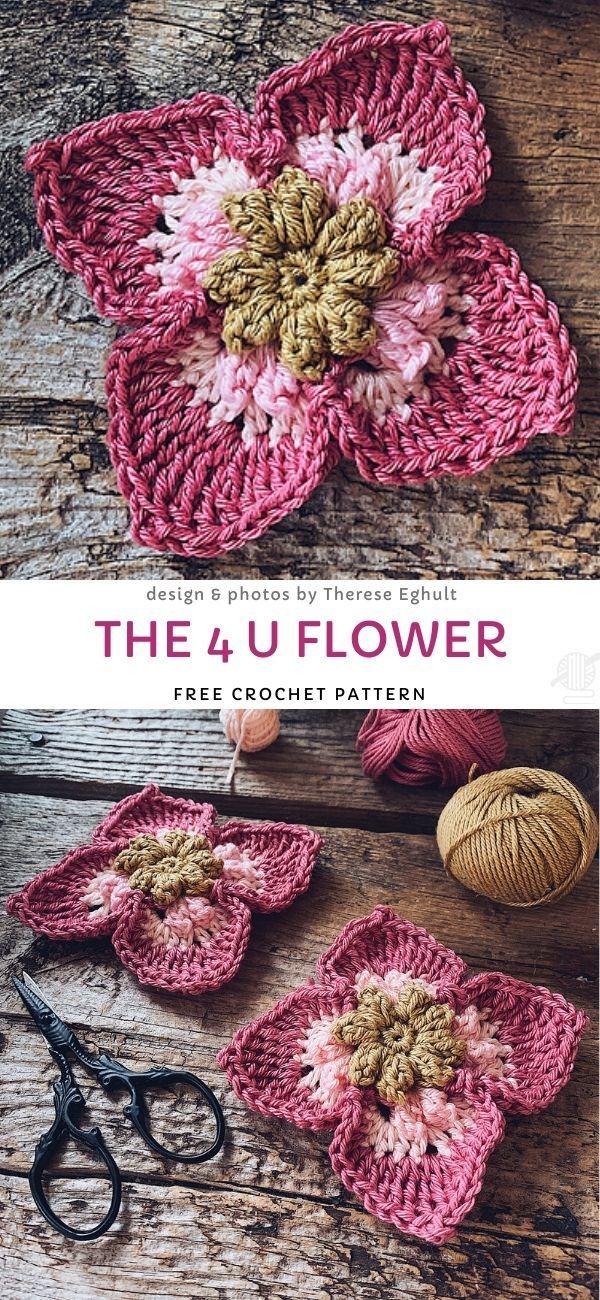 The 4 U Flower Free Crochet Pattern