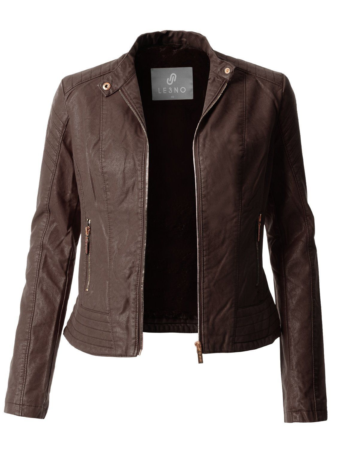Sherpa Fur Lined Quilted Faux Leather Biker Moto Jacket in