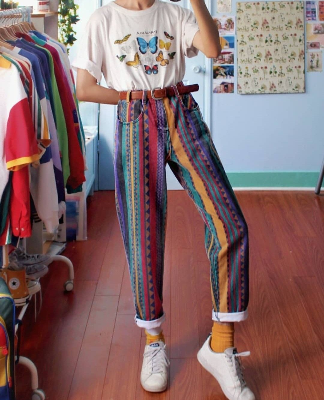 Colorful Jeans With A Butterfly T Shirt Thrift Store Aesthetic Vintage Clothing Boho Inspiration In 2020 Vintage Summer Outfits Retro Outfits Vintage Outfits