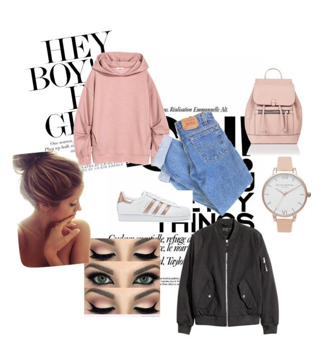 """""""BTS outfit"""" by ema191298 ❤ liked on Polyvore featuring Levi's, adidas Originals, Accessorize and Olivia Burton"""