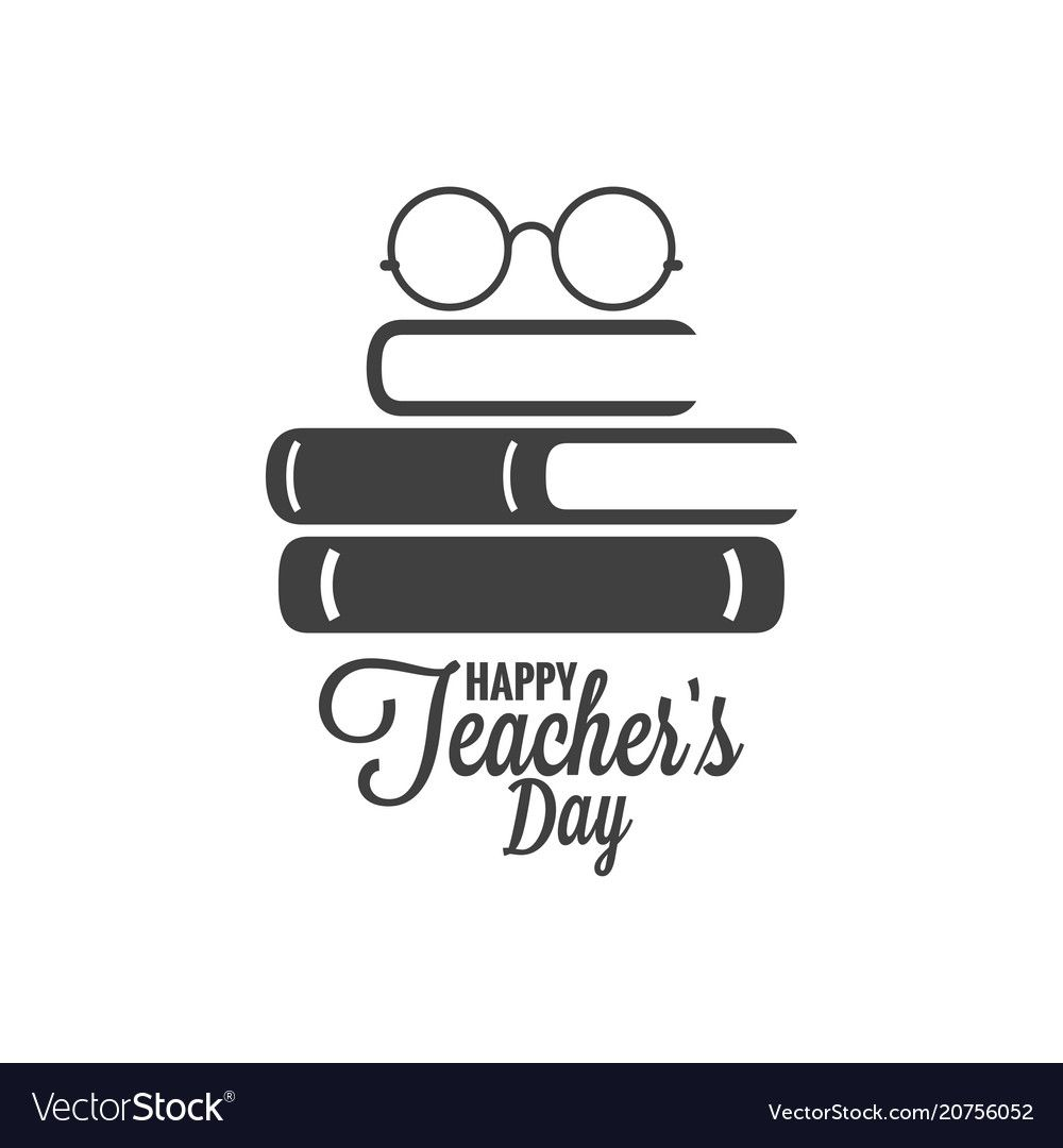 Happy Teachers Day Icon Glasses And Book Logo On Vector Image On Vectorstock Happy Teachers Day Teachers Day Drawing Teachers Day