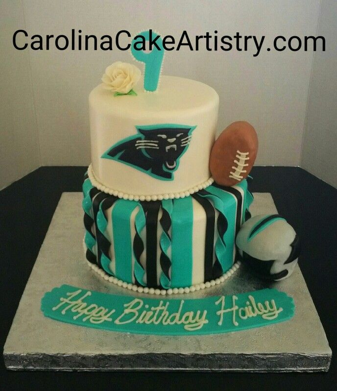 Awesome Carolina Panthers birthday cake for a little girl turning 9