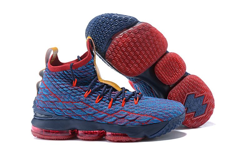 1d349b9257854 Excellent Nike LeBron 15 Pride of Ohio Blue Red Men u0027s Sneakers  Basketball Shoes