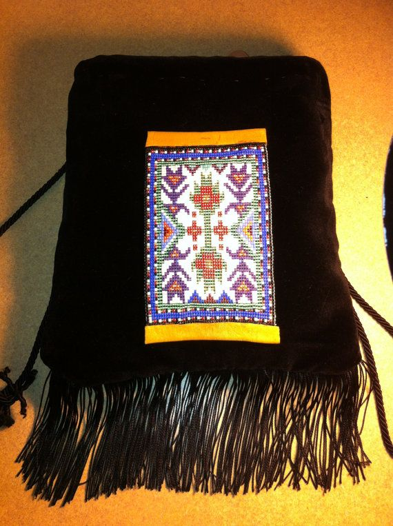 Native American Handmade Black Velvet with Iroquois Woodland Loom Beading, gold silk-lined, fringe, drawstring purse by MichelesMenagerie2, $200.00