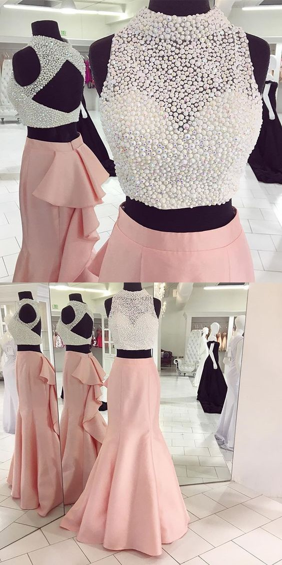 Crop Top Prom Dress, Sexy Two Piece Long | Ropa | Pinterest ...