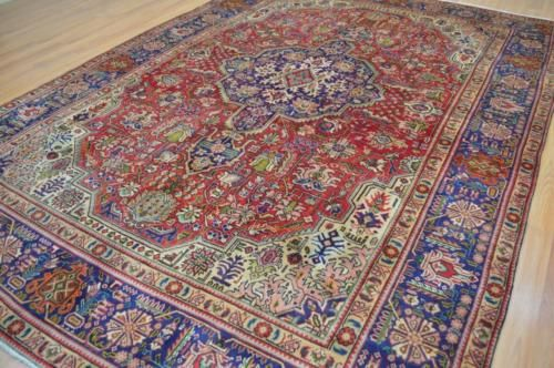 710-x-11-Rare-Geometric-Tabriz-Genuine-S-Antique-Persian-Handmade-Wool-Area-Rug