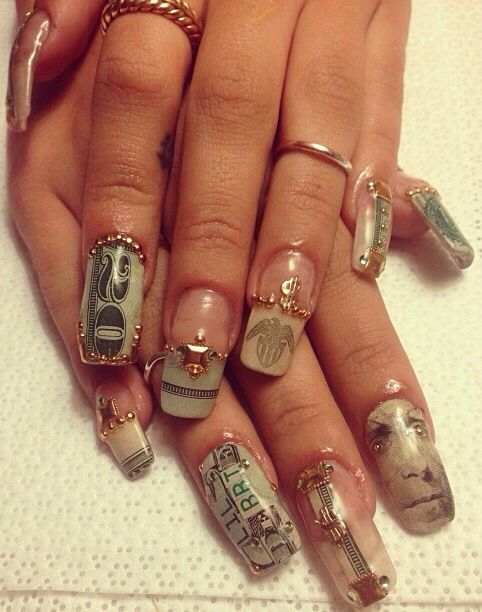 Pin By A B On Nails Ghetto Nails Swag Nails Luxury Nails