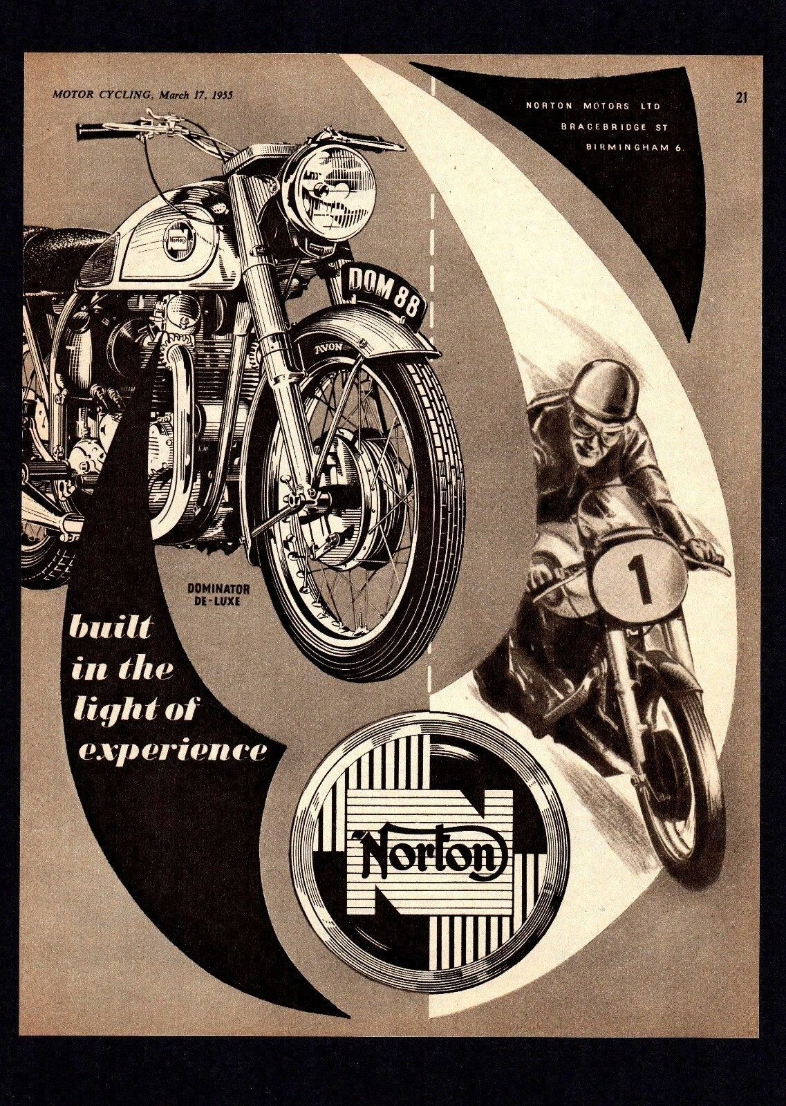 MARCH 1955 NORTON DOMINATOR DELUXE MODEL 88 MOTORCYCLE 500 TWIN