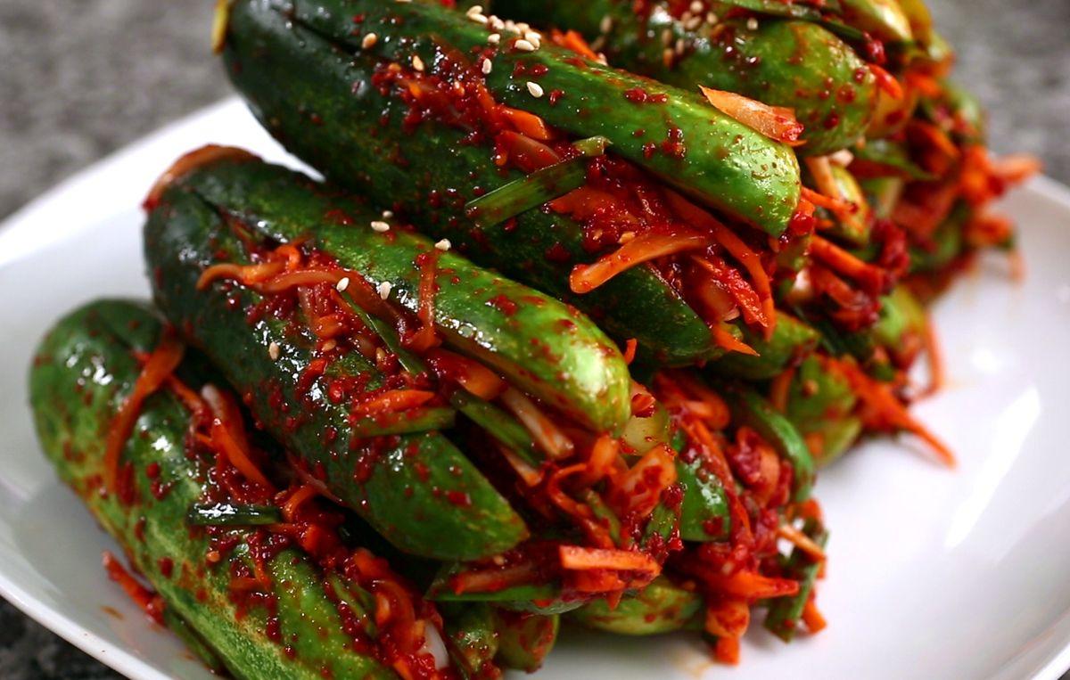 Spicy Stuffed Cucumber Kimchi Oi Sobagi Recipe Cucumber Kimchi Maangchi Recipes Kimchi Recipe