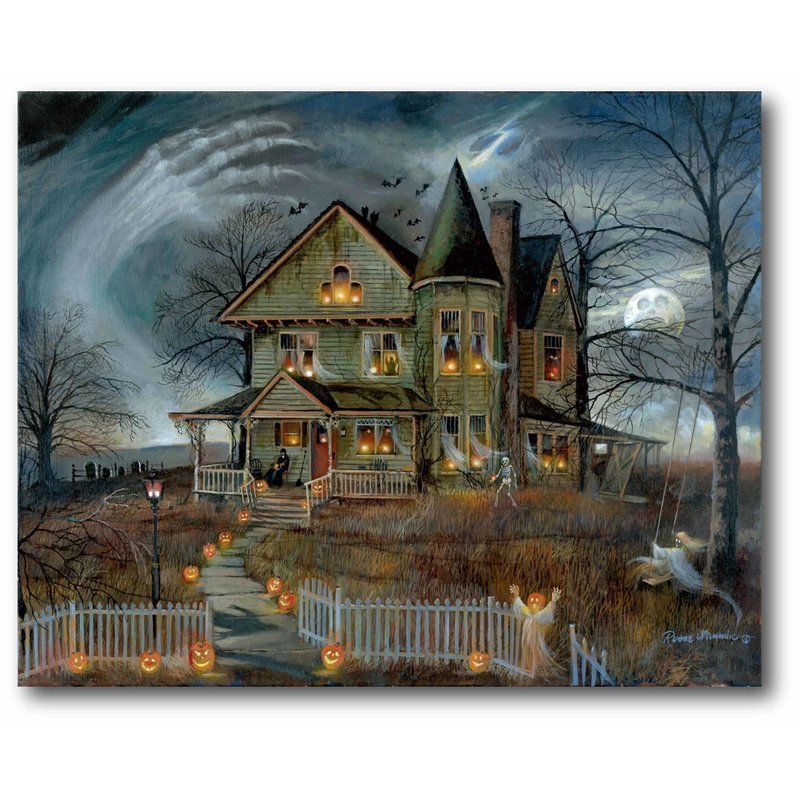 'Haunted House' Graphic Art Print On Canvas