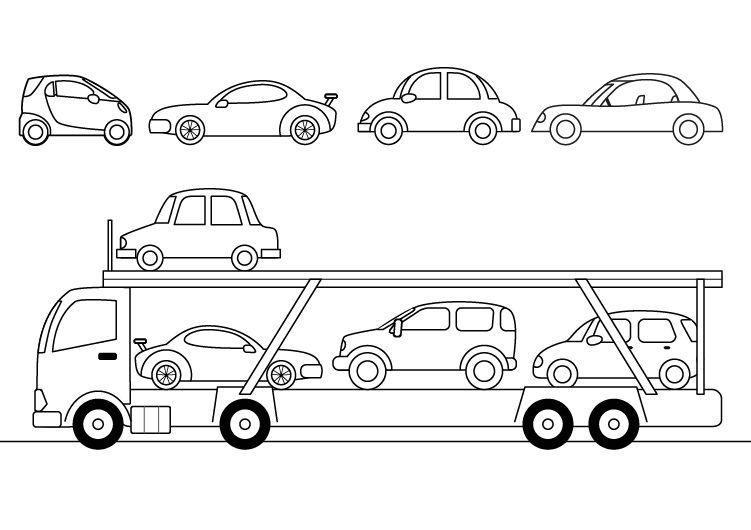 Camion Portacoches Dibujo Para Colorear E Imprimir Dibujos Para Colorear Camion Dibujo Imprimir Sobres